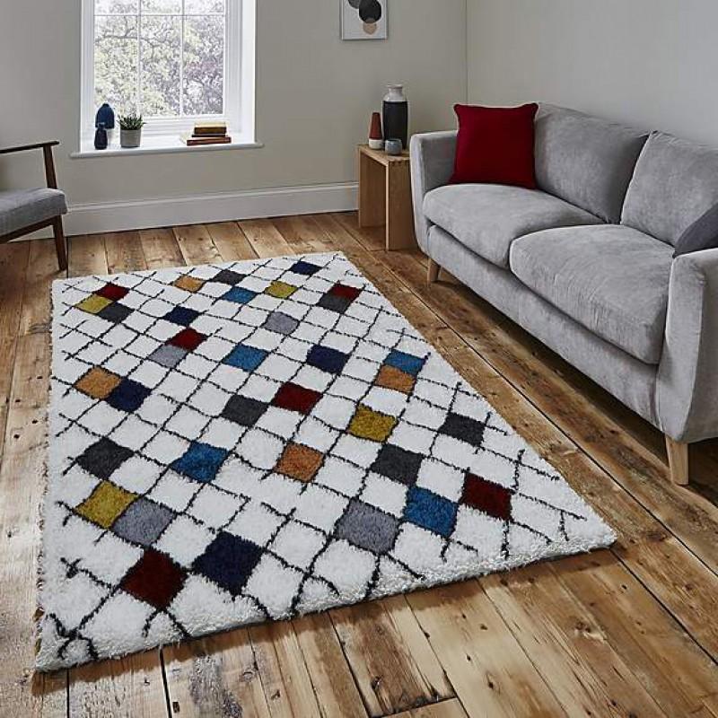 1408 shaggy multi-coloured carpet