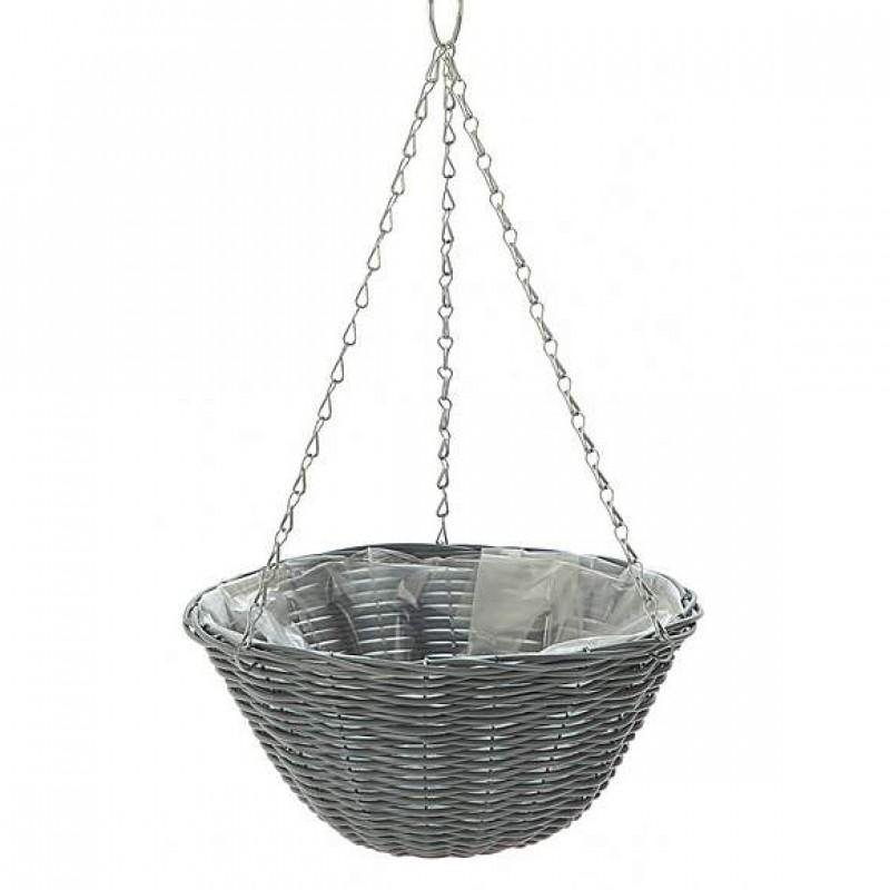 Dark grey hanging basket with rattan eff...