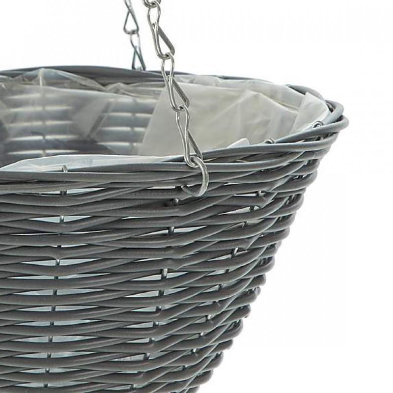 Dark grey hanging basket with rattan effect